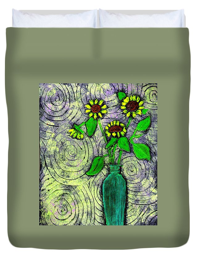 Sunflowers Duvet Cover featuring the painting Sunflowers In A Green Vase by Wayne Potrafka