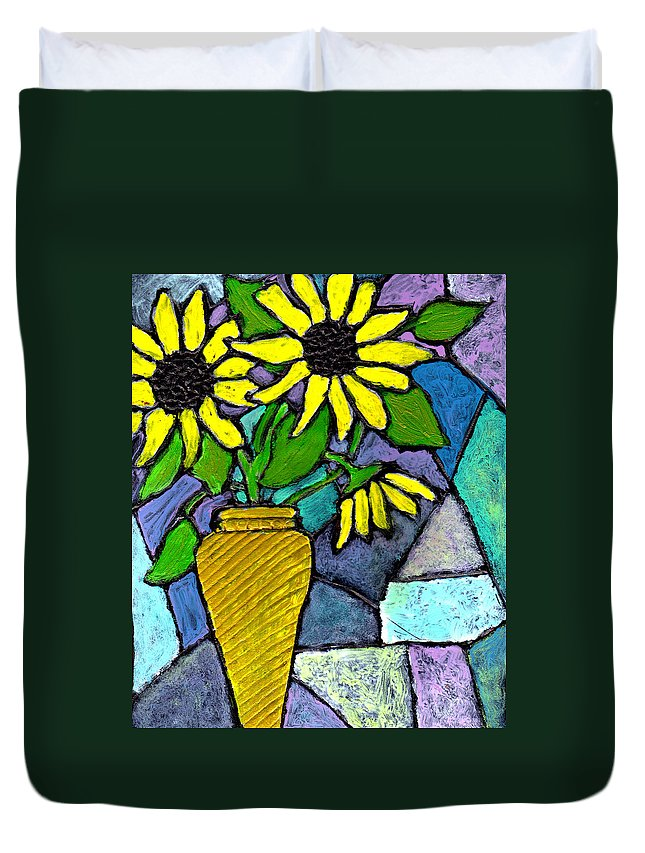 Flowers Duvet Cover featuring the painting Sunflowers In A Vase by Wayne Potrafka