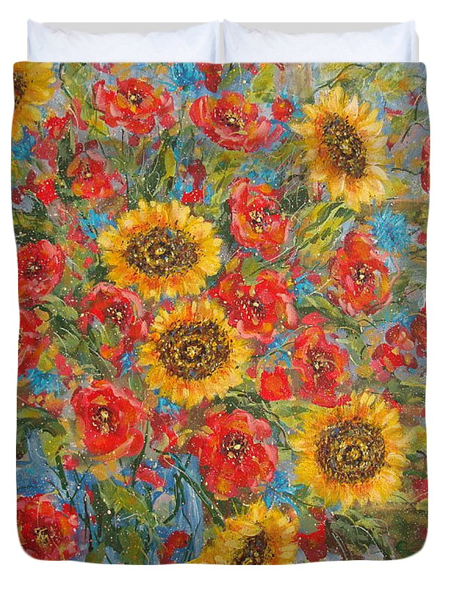 Flowers Duvet Cover featuring the painting Sunflowers In Blue Pitcher. by Leonard Holland