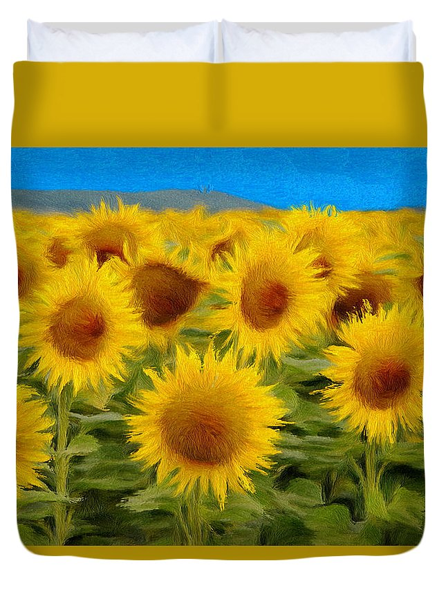 Sunflower Duvet Cover featuring the painting Sunflowers In The Field by Jeffrey Kolker