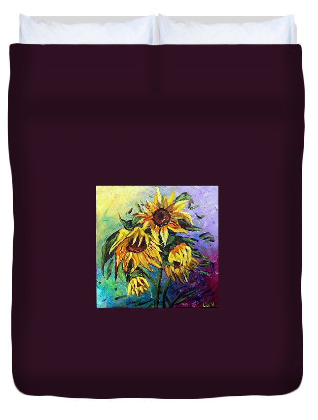 Art Duvet Cover featuring the painting Sunflowers In The Rain by Luiza Vizoli