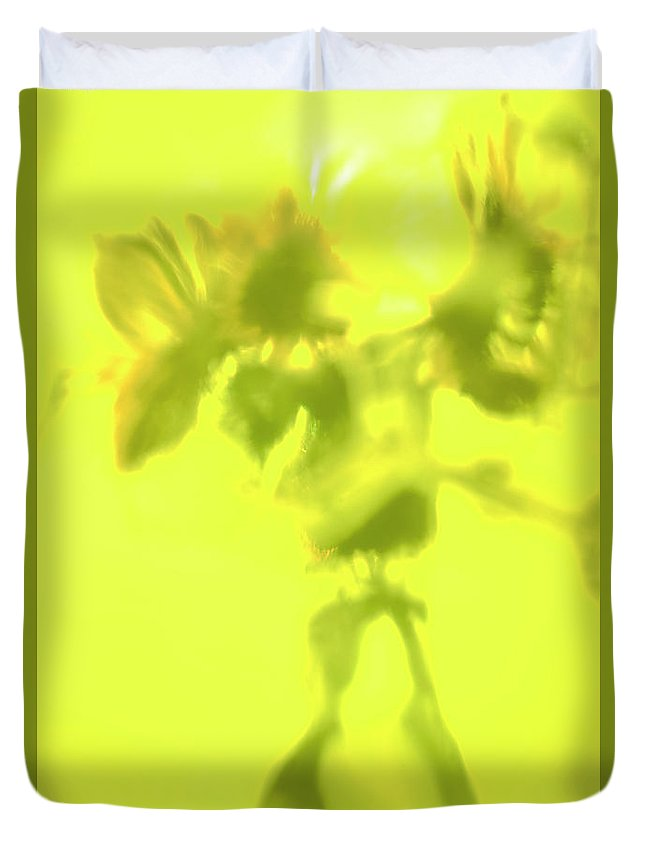 Sunflowers In Sun Abstract Fine Art Photography By Alexander Vinogradov Duvet Cover featuring the photograph Sunflowers In The Sun. by Alexander Vinogradov
