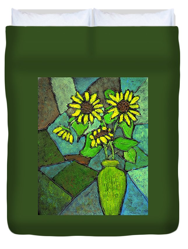 Sunflowers Duvet Cover featuring the painting Sunflowers In Vase Green by Wayne Potrafka