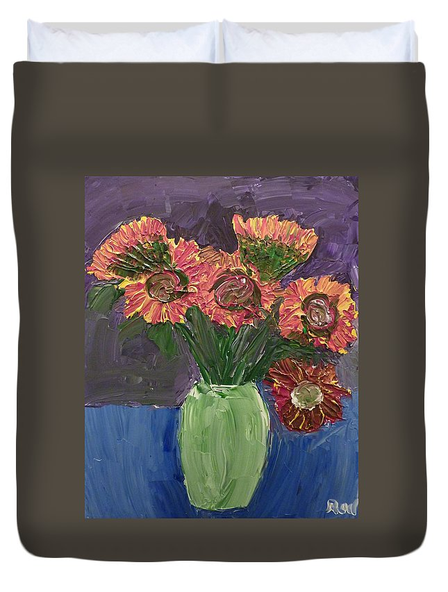 Sunflowers Duvet Cover featuring the painting Sunflowers In Vase by Joshua Redman