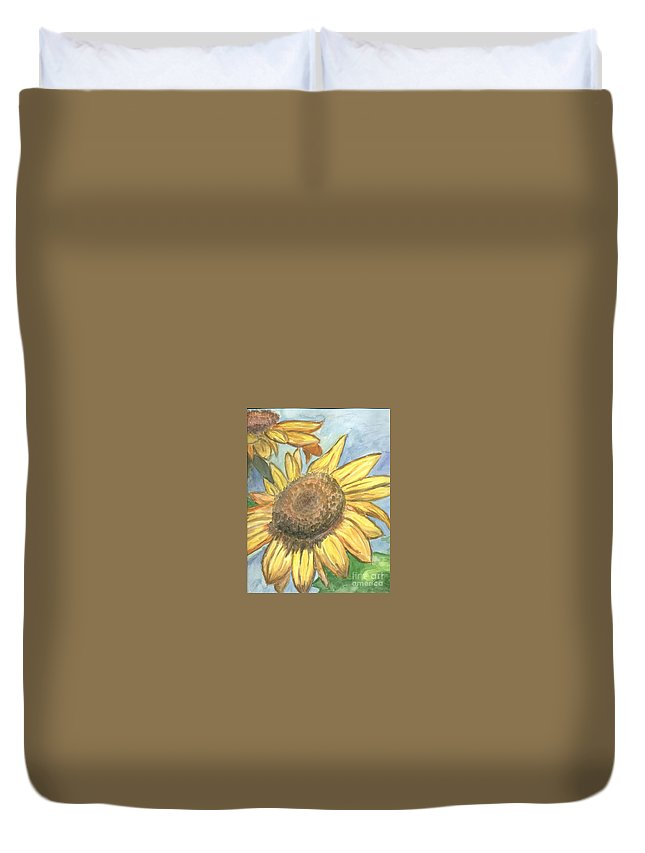 Daisy Duvet Cover featuring the painting Sunflowers by Jacqueline Athmann