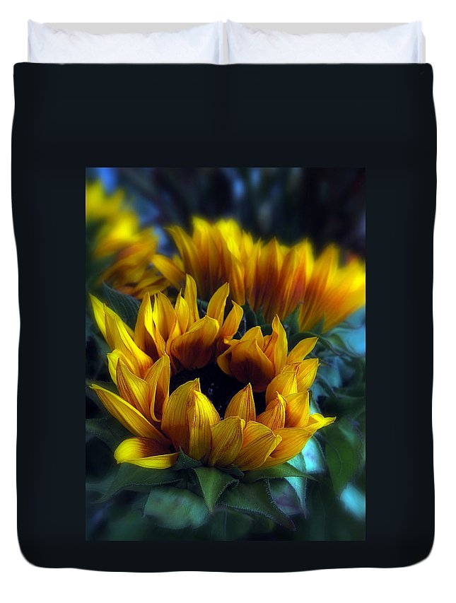 Flowers Duvet Cover featuring the photograph Sunflowers by Jessica Jenney