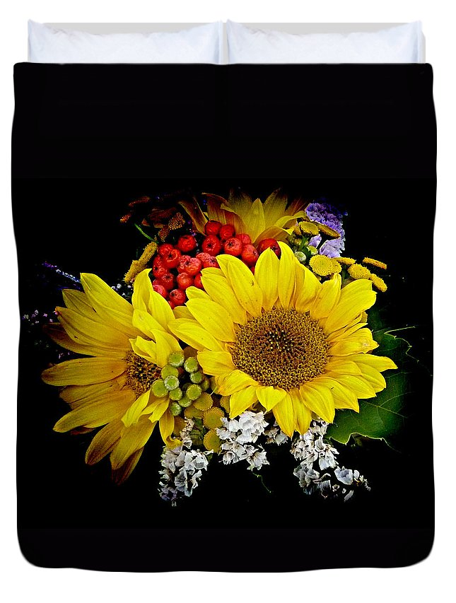 Sunflower Duvet Cover featuring the photograph Sunflowers by Lori Seaman