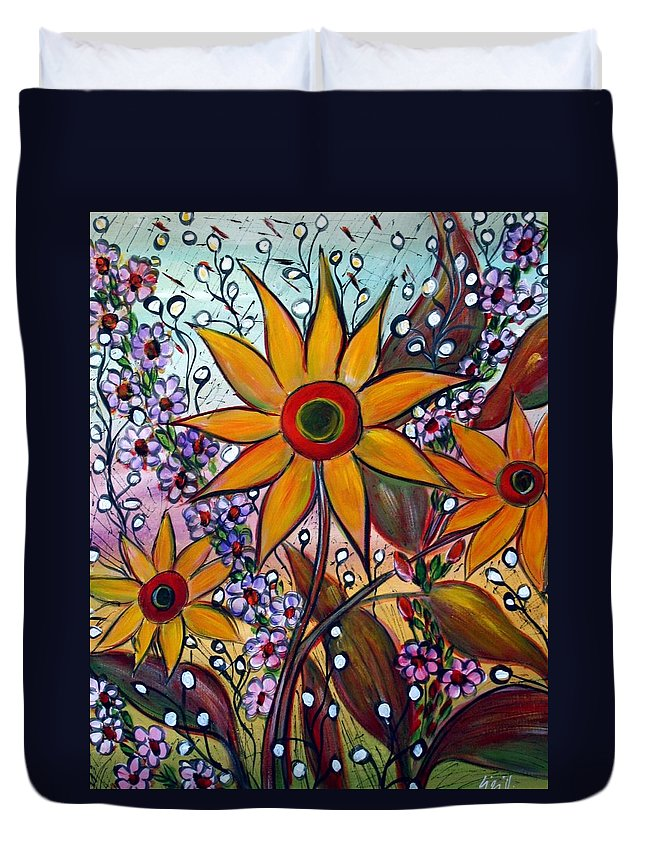 Flowers Duvet Cover featuring the painting Sunflowers by Luiza Vizoli