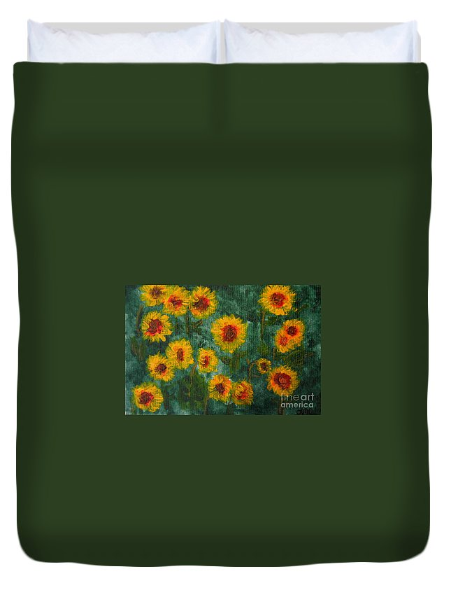 Acrylic Duvet Cover featuring the painting Sunflowers by Lynne Reichhart