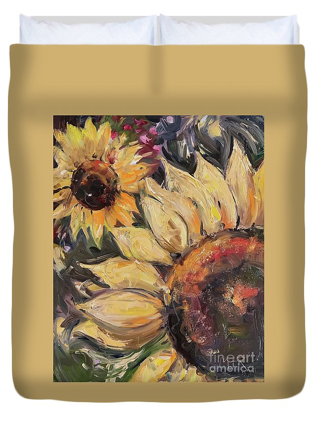 Sunflower Duvet Cover featuring the painting Sunflowers by Maria Reichert
