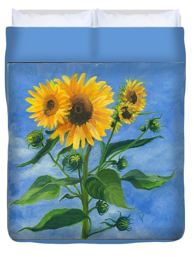 Flowers Duvet Cover featuring the painting Sunflowers On Bauer Farm by Paula Emery