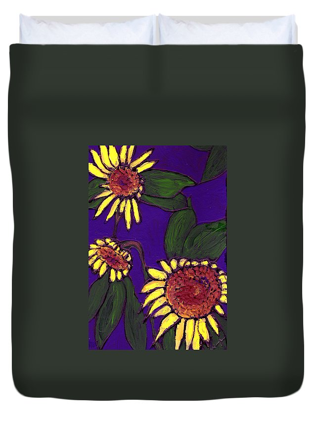 Sunflowers Duvet Cover featuring the painting Sunflowers On Purple by Wayne Potrafka