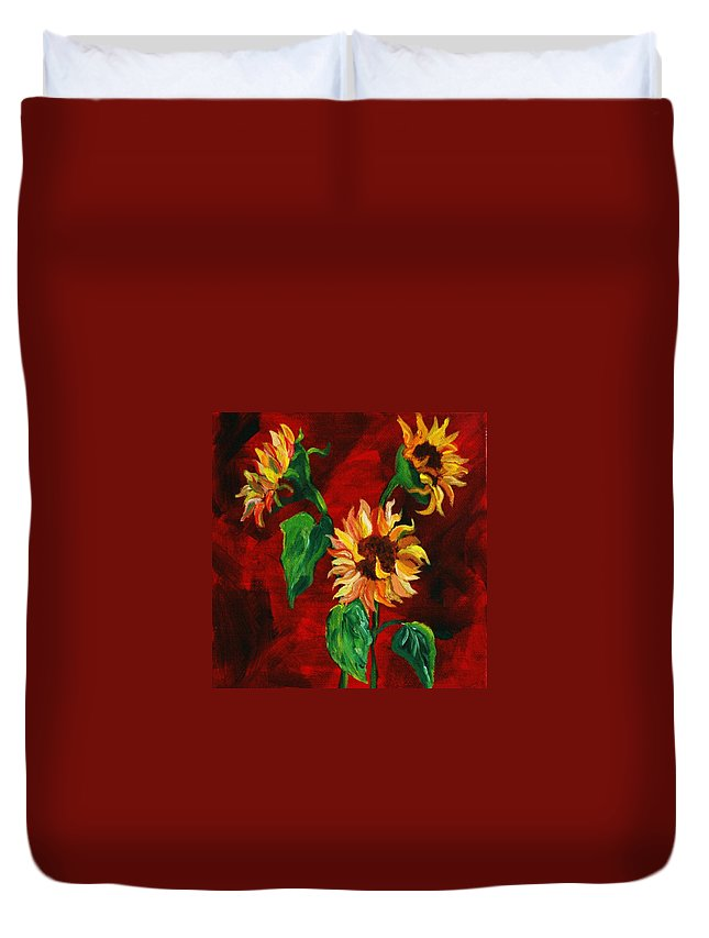 Flowers Duvet Cover featuring the painting Sunflowers On Rojo by Melinda Etzold