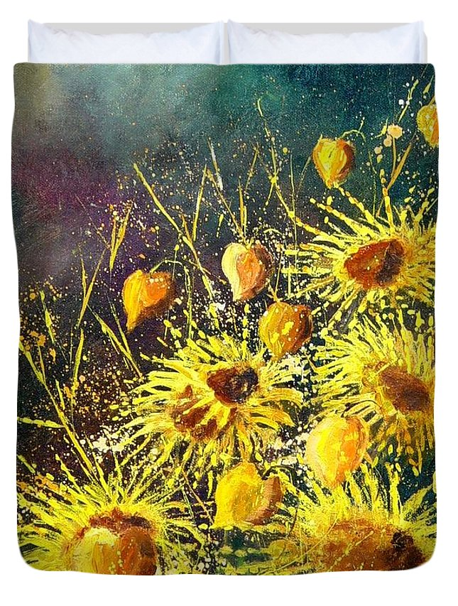 Flowers Duvet Cover featuring the painting Sunflowers by Pol Ledent