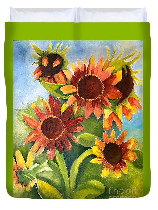 Sunflowers Duvet Cover featuring the painting Sunflowers by Rebecca Jackson