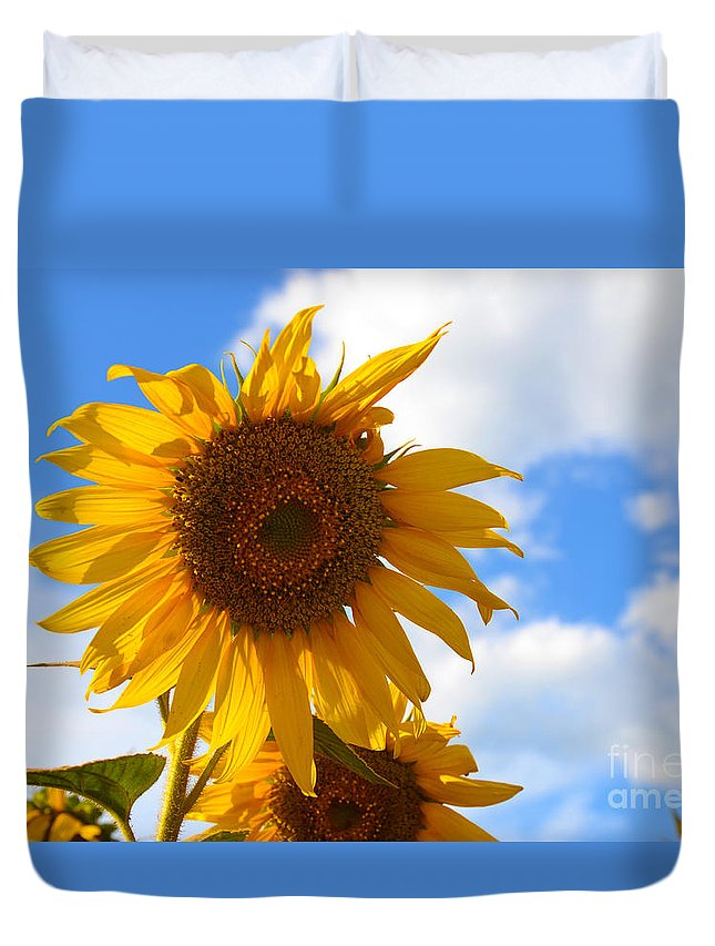 Flower Duvet Cover featuring the photograph Sunflowers by Sarintra Chimphoolsuk