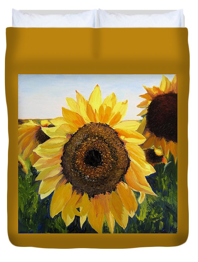Sunflower Duvet Cover featuring the painting Sunflowers Squared by Lea Novak