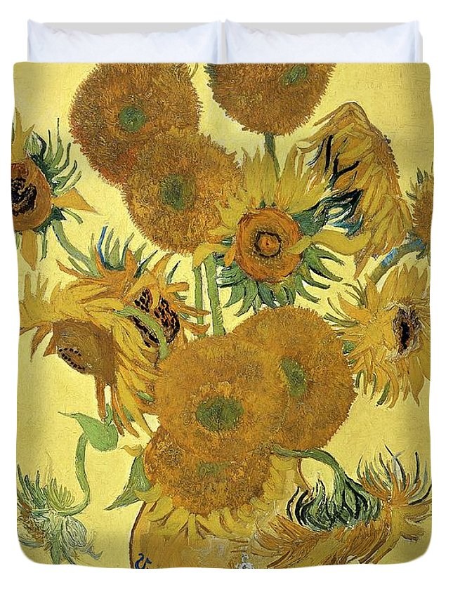 Sunflowers Duvet Cover featuring the painting Sunflowers, 1888 by Vincent Van Gogh