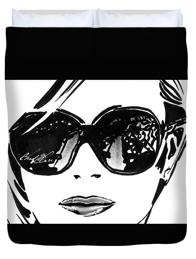 Black And White Duvet Cover featuring the drawing Sunglasses by Chad Glass