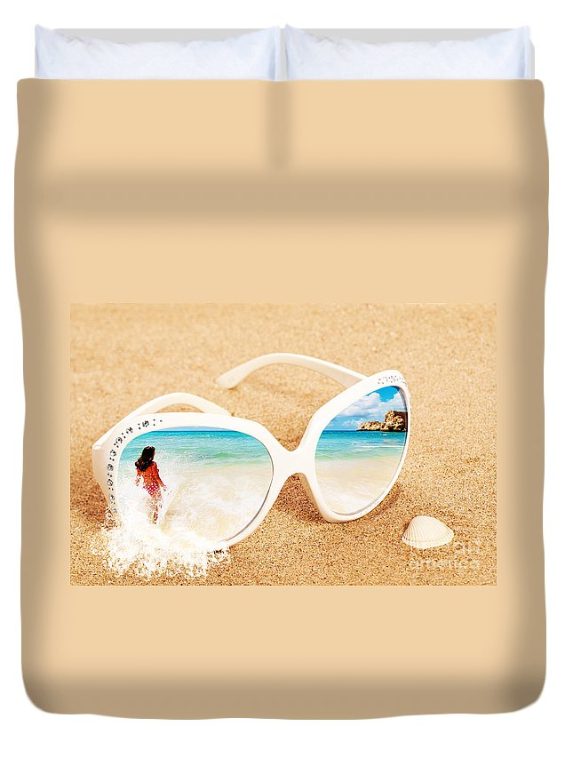 Sunglasses Duvet Cover featuring the photograph Sunglasses In The Sand by Amanda Elwell