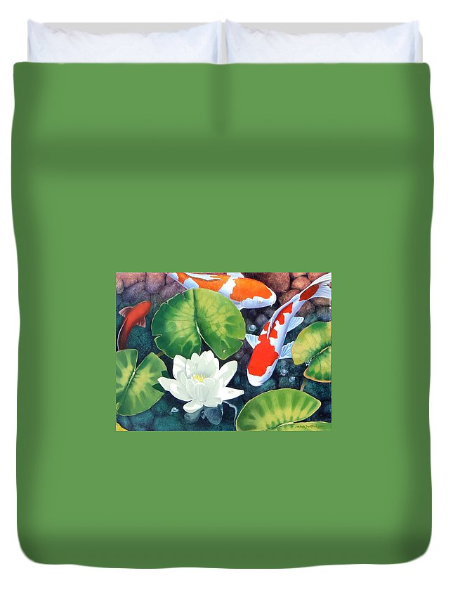Koi Fish Duvet Cover featuring the painting Sunken Garden by Jim Bob Swafford