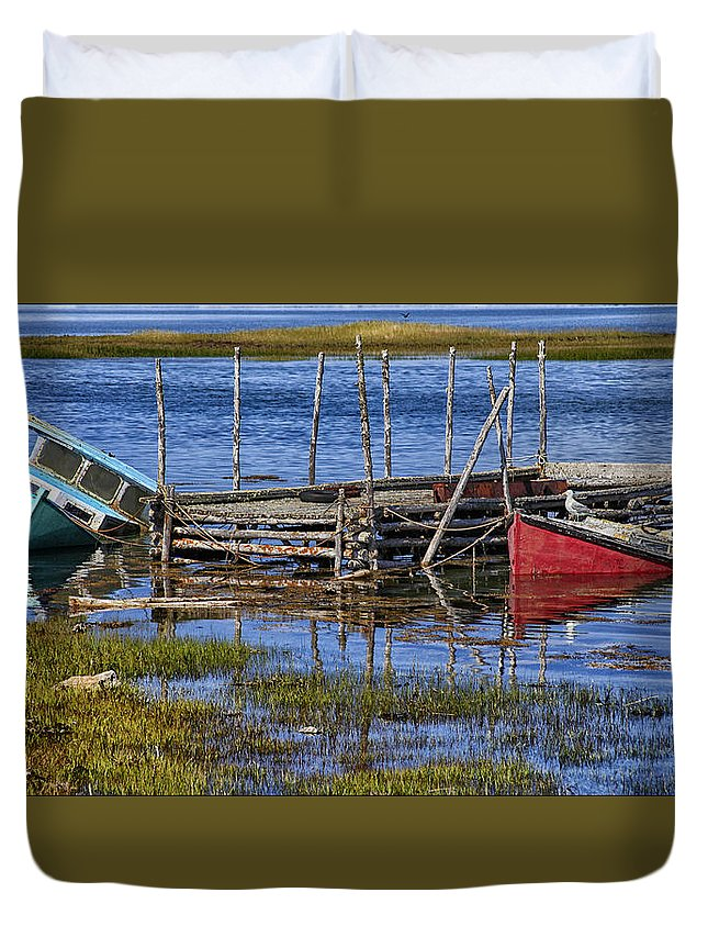 Boats From Nova Scotia Cove Duvet Cover featuring the photograph Sunken Treasure by Sherry Butts