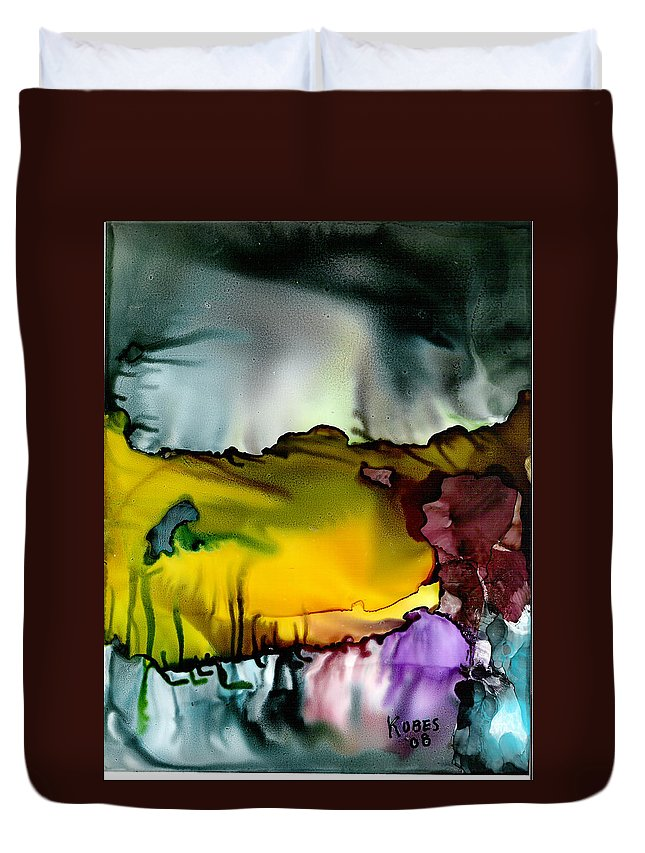 Abstract Duvet Cover featuring the mixed media Sunless Sea by Susan Kubes