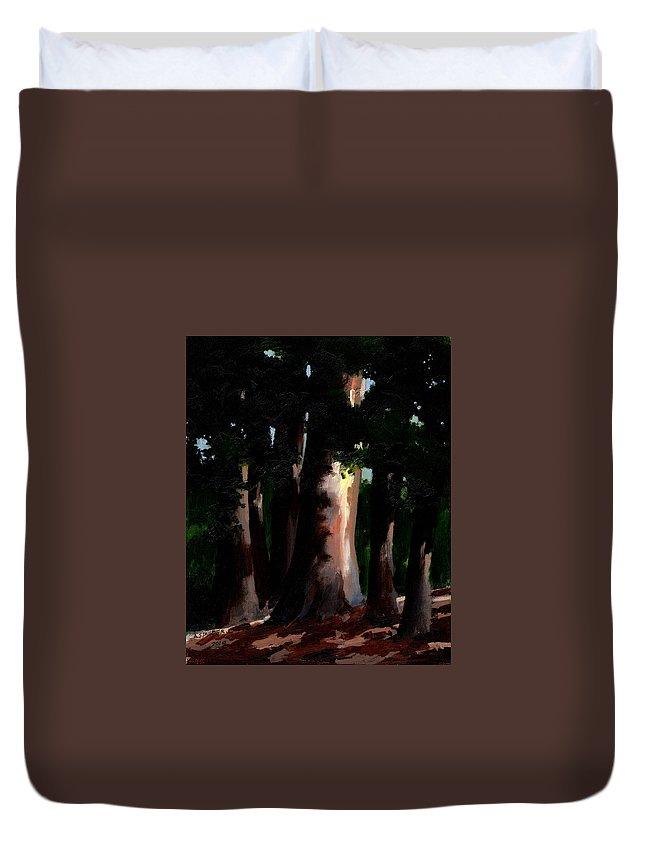 Sunlight Duvet Cover featuring the painting Sunlight And Shadows - Eucalyptus Majesties by Arthur Stauder
