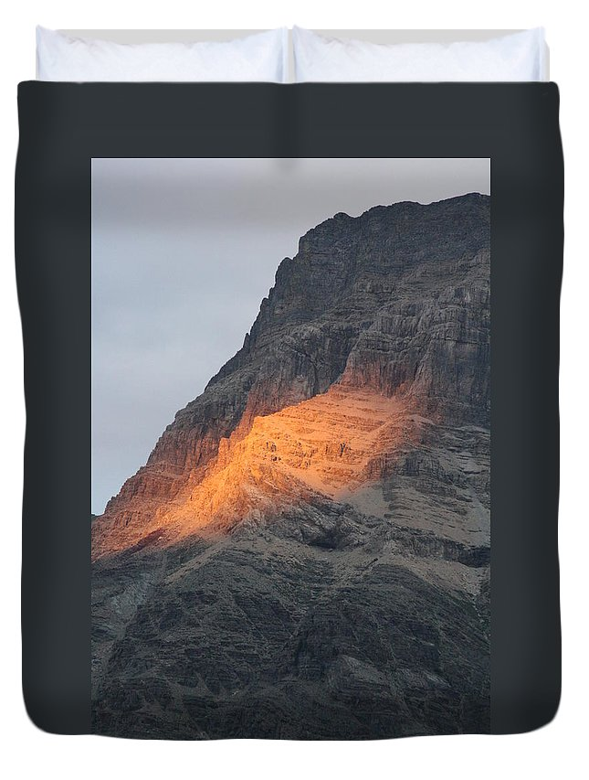 Nature Duvet Cover featuring the photograph Sunlight Mountain by Mary Mikawoz