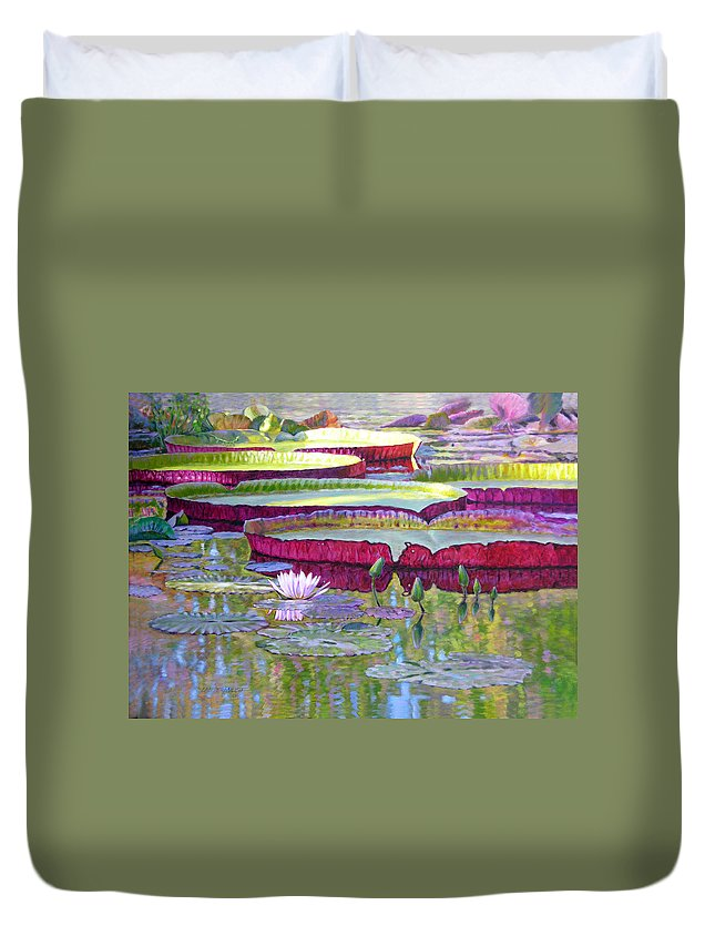 Lily Pond Duvet Cover featuring the painting Sunlight On Lily Pads by John Lautermilch