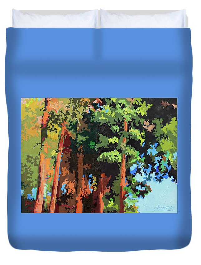 Trees Duvet Cover featuring the painting Sunlight On Trees by John Lautermilch
