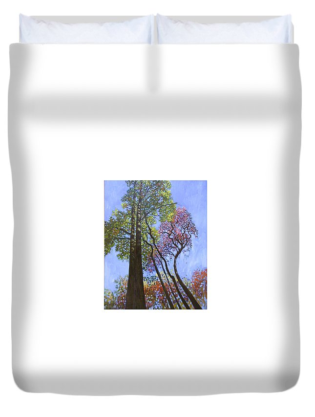 Fall Trees Highlighted By The Sun Duvet Cover featuring the painting Sunlight On Upper Branches by John Lautermilch