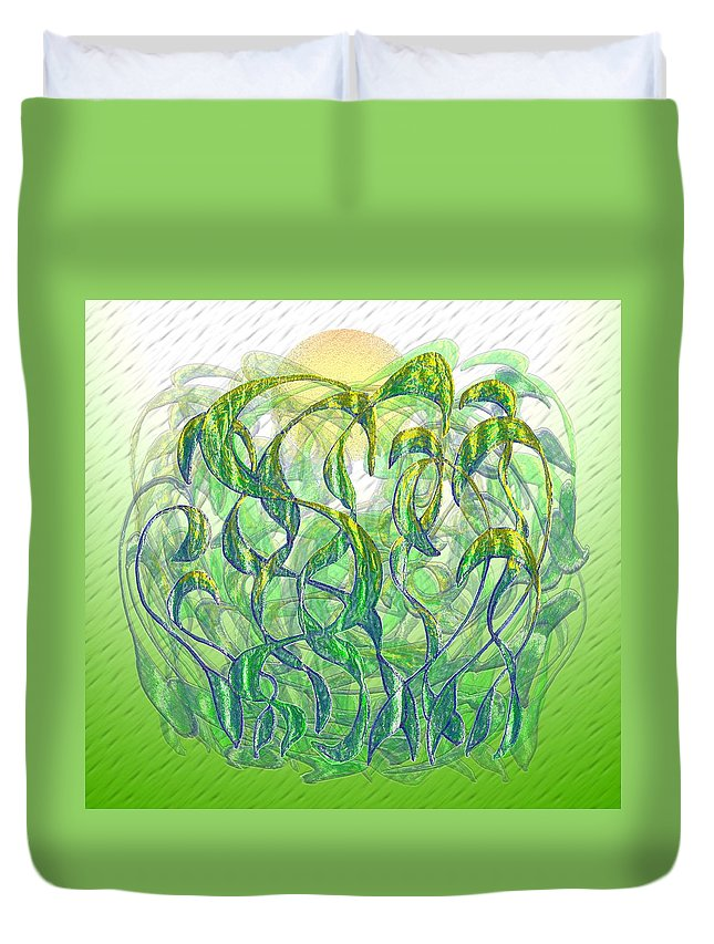 Surrealism Duvet Cover featuring the digital art Sunlight On Wet Grass by Mark Sellers
