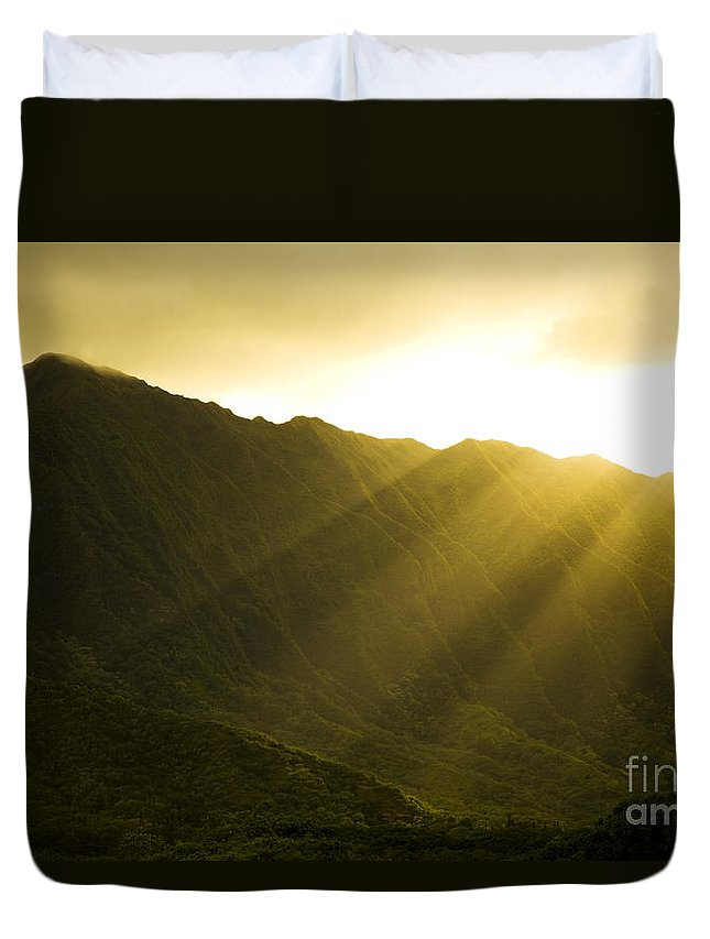 Bright Duvet Cover featuring the photograph Sunlight Over Kualoa Ranch by Dana Edmunds - Printscapes