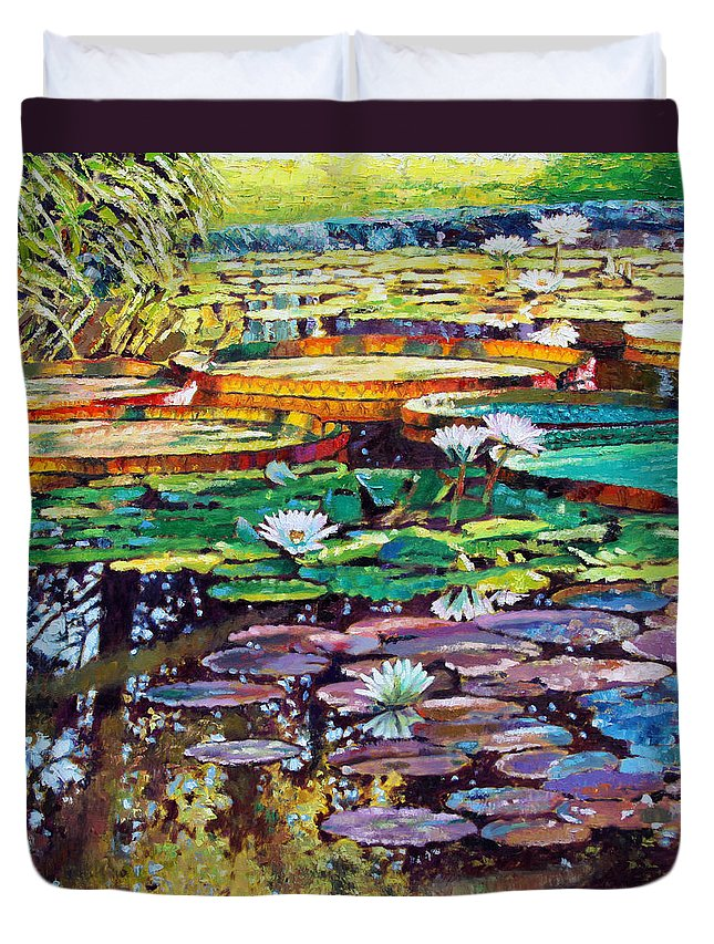 Sunlight Duvet Cover featuring the painting Sunlight to Shadows by John Lautermilch