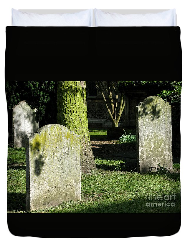 Churchyard Duvet Cover featuring the photograph Sunlit Churchyard by Ann Horn