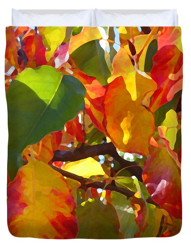 Fall Leaves Duvet Cover featuring the photograph Sunlit Fall Leaves by Amy Vangsgard
