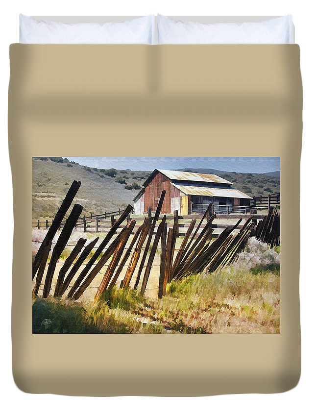 Fence Duvet Cover featuring the digital art Sunlit Fence by Sharon Foster