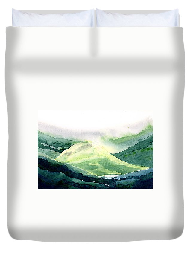 Landscape Duvet Cover featuring the painting Sunlit Mountain by Anil Nene
