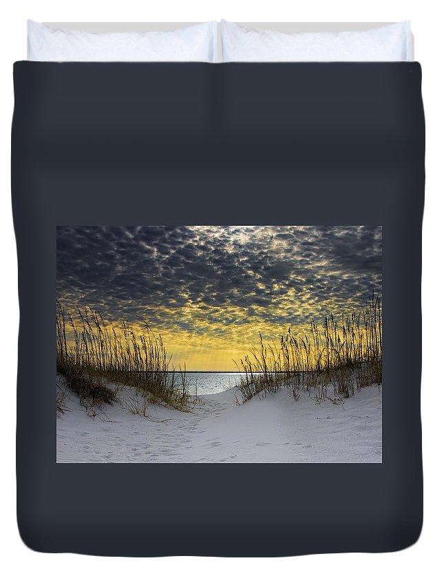 Coast Duvet Cover featuring the photograph Sunlit Passage by Janet Fikar