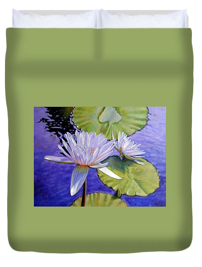 Water Lilies Duvet Cover featuring the painting Sunlit Petals by John Lautermilch