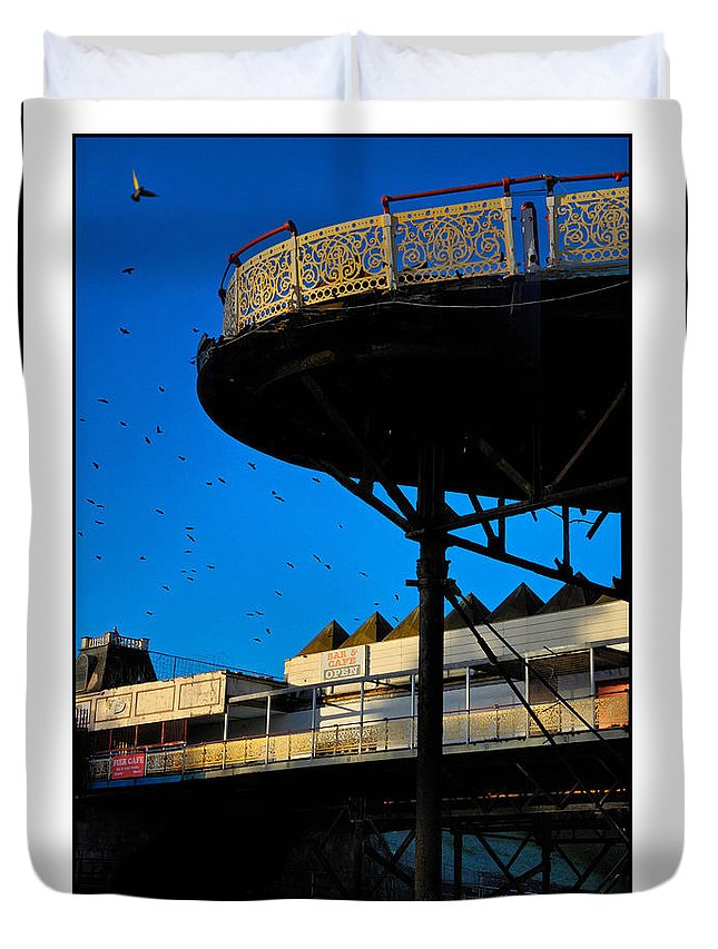 Pier Duvet Cover featuring the photograph Sunlit Pier by Mal Bray