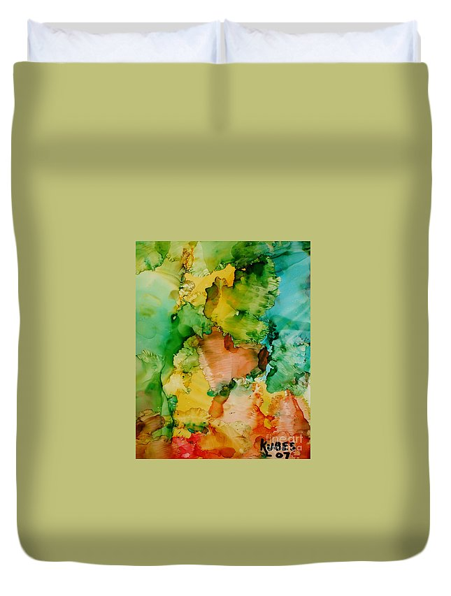 Abstract Duvet Cover featuring the painting Sunlit Reef by Susan Kubes