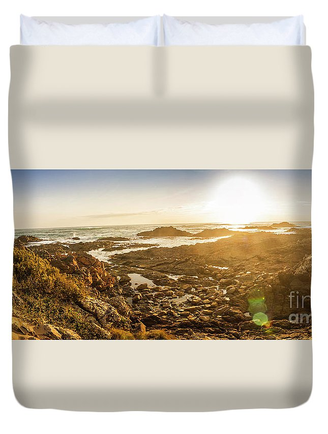 Coastline Duvet Cover featuring the photograph Sunlit Seaside by Jorgo Photography - Wall Art Gallery