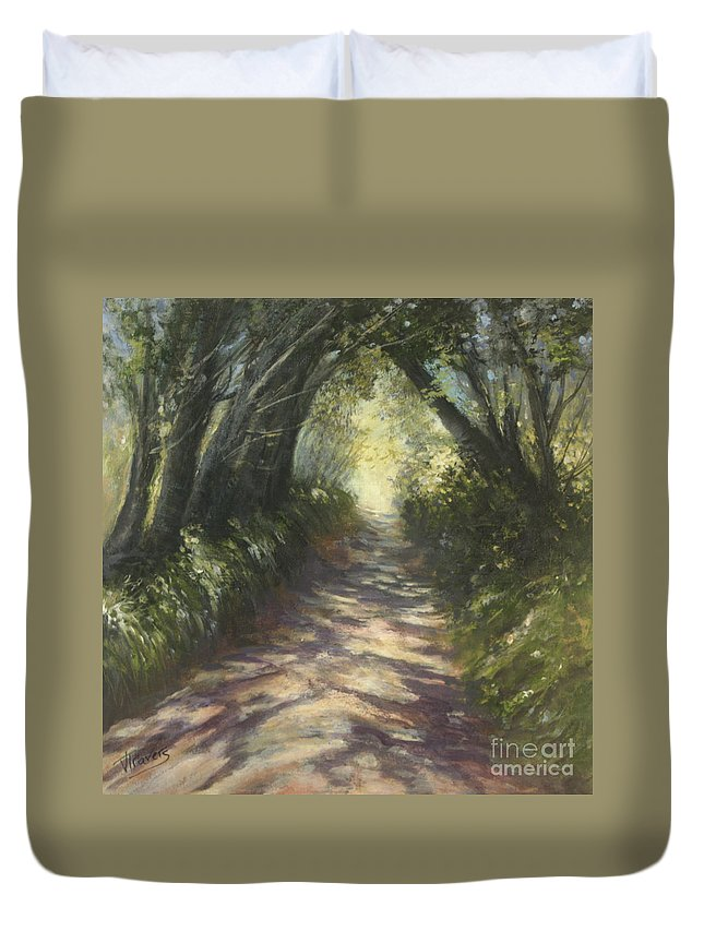 Country Lane Duvet Cover featuring the painting Sunlit by Valerie Travers