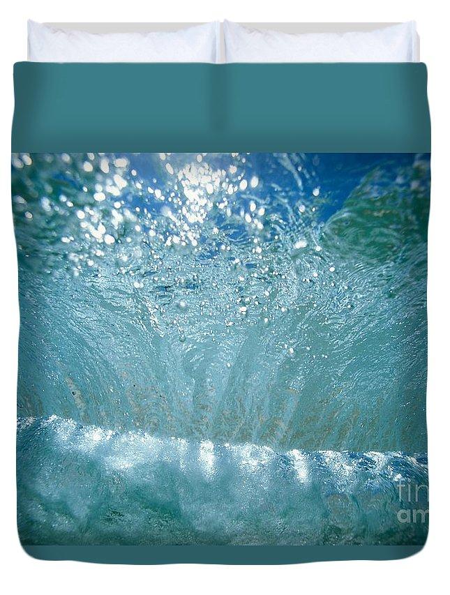 Blue Duvet Cover featuring the photograph Sunlit Wave by Vince Cavataio - Printscapes