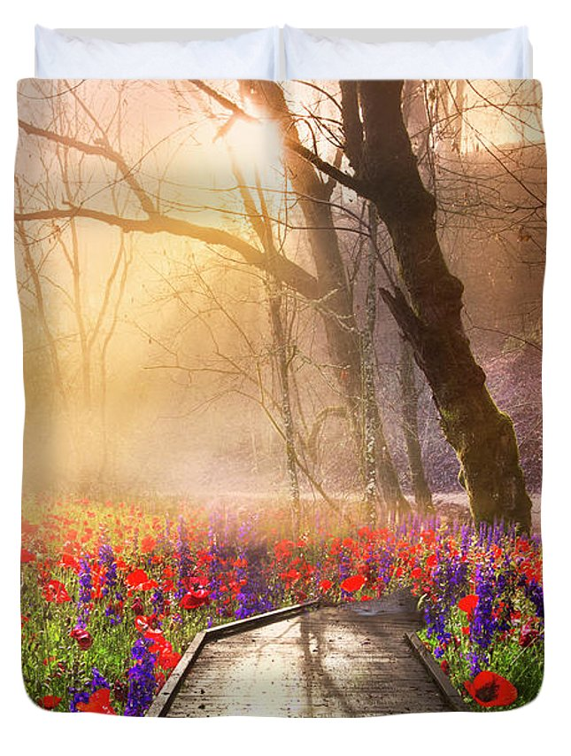 Appalachia Duvet Cover featuring the photograph Sunlit Wildflowers by Debra and Dave Vanderlaan