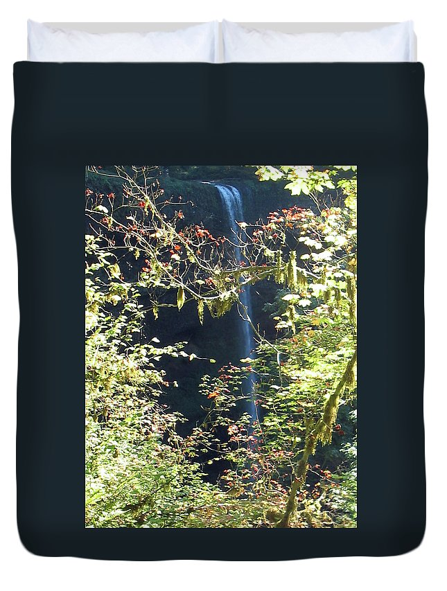 Landscape Duvet Cover featuring the photograph Sunlite Silver Falls by Thomas J Herring