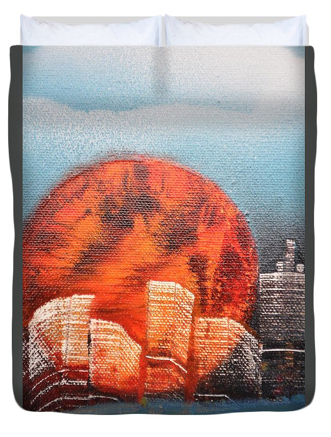 Sun Duvet Cover featuring the painting Sunny Buildings by Zack Anderson