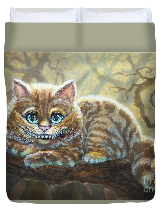 Cat Duvet Cover featuring the painting Sunny Cheshire Cat by Irina Effa